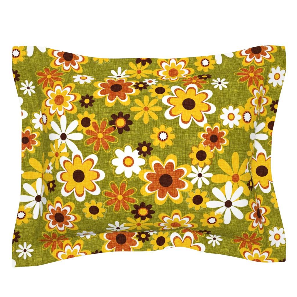 Sebright Pillow Sham featuring Retro Geo Flowers by thecalvarium