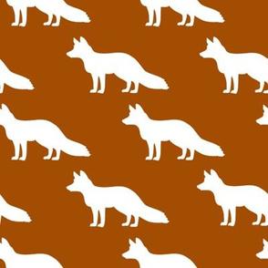 White Foxes on Burnt Orange