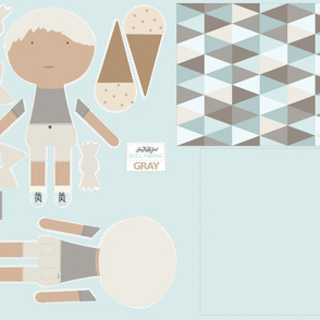 BOY Doll Fabric - Grey + Quilt