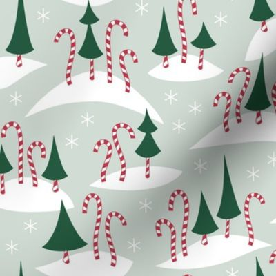 Candy Cane Forest Festive Spoonflower