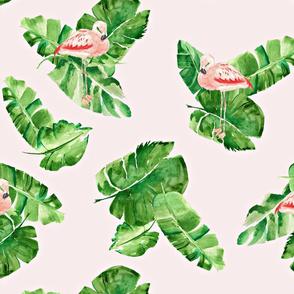 Banana Leaves And Flamingos