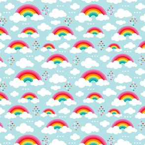 Cloudy blue sky rainbow dreams clouds and hearts XS