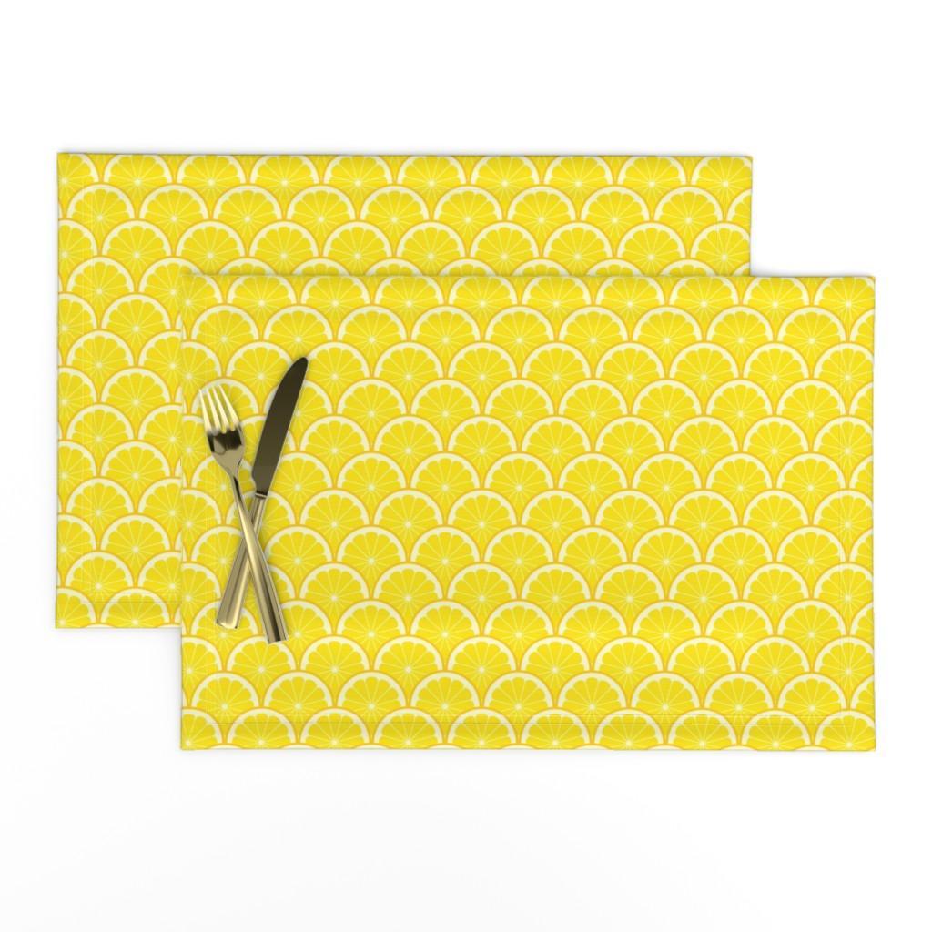 Lamona Cloth Placemats featuring 04293521 : citrus scale 1x X : lemon by sef