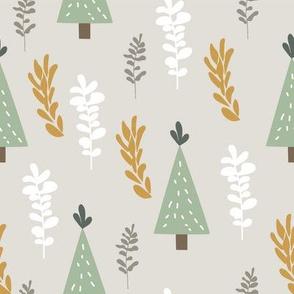 Winter Woodland Green Christmas Trees