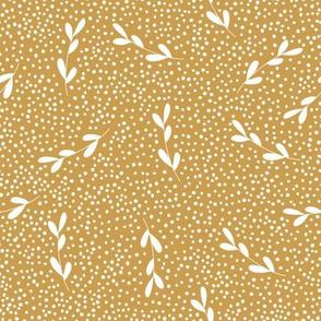 gold leaf branches dots leaves leaf pattern