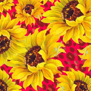 scattered sunflowers on red leopard