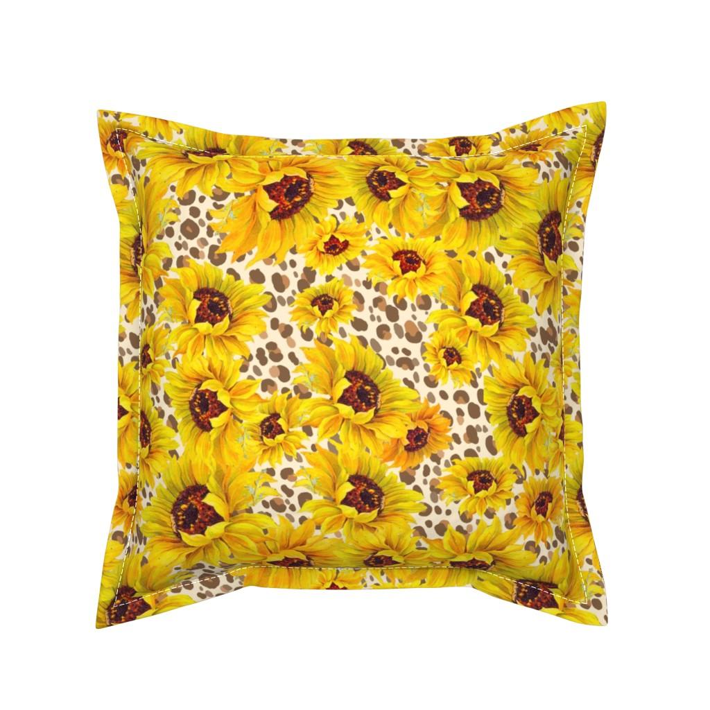 Serama Throw Pillow featuring sunflower shower on sand leopard by beesocks