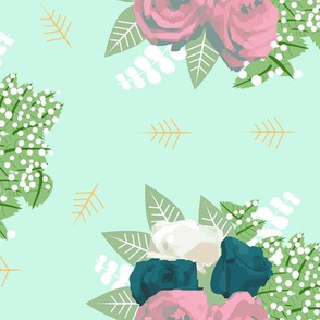 Rose Bouquet on Mint