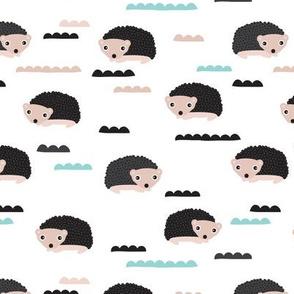 Adorable gender neutral woodland hedgehog illustration pattern for kids