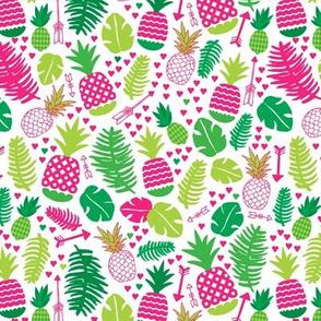 Tropical cactus garden brazil leaf and exotic fruit illustration green pink print