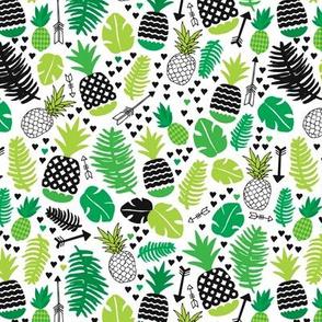 Tropical cactus monstera pineapple garden brazil green leaf and exotic fruit illustration print