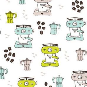 Hipster coffee barista cafe machine kitchen illustration pattern design in mint