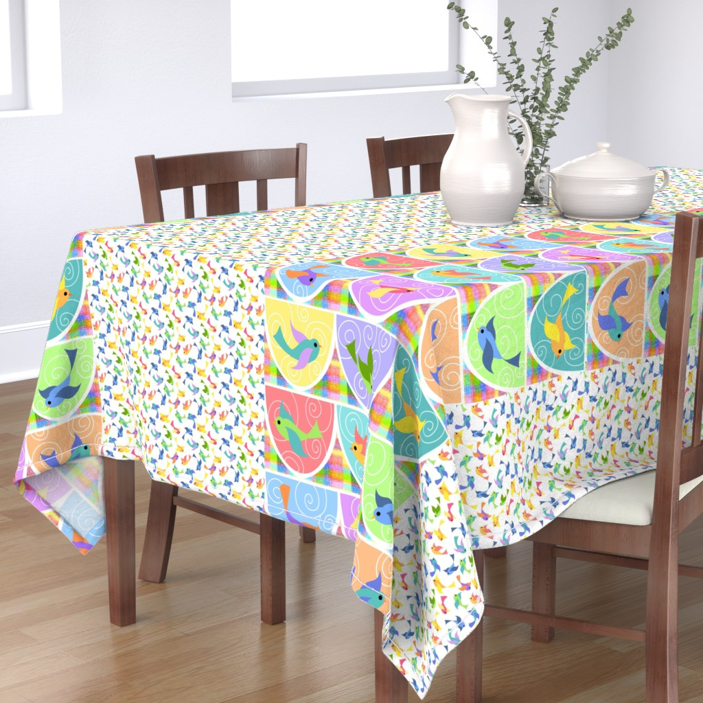 Bantam Rectangular Tablecloth featuring Hi, ho, a merry-o: a bunting we will go (check full yard view for extras) by vo_aka_virginiao