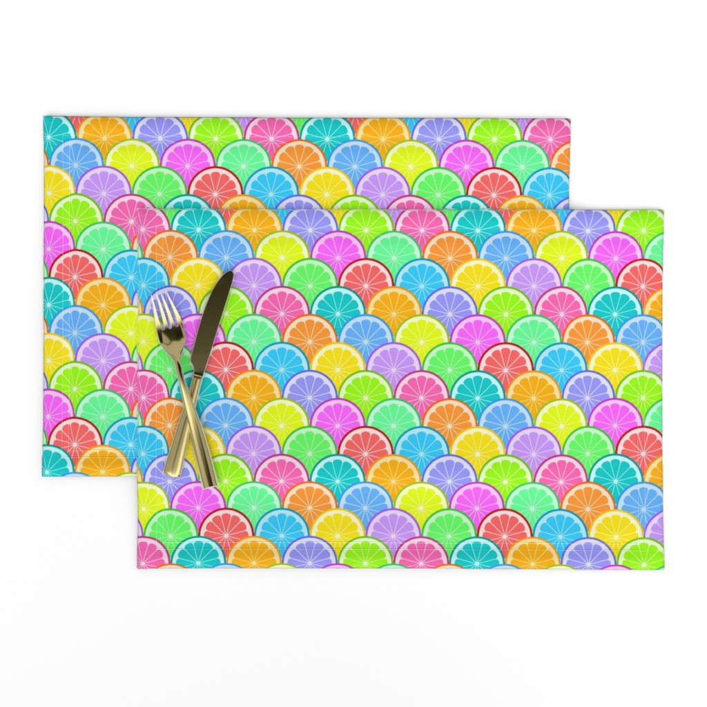 Lamona Cloth Placemats featuring 04298626 : citrus scale : rainbow 15 by sef