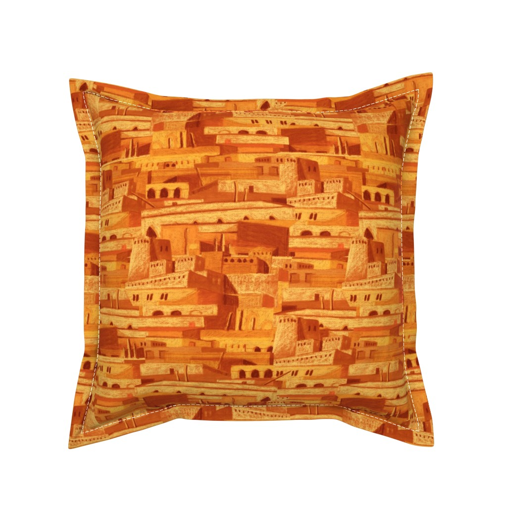 Serama Throw Pillow featuring sandcastles at evening by chicca_besso
