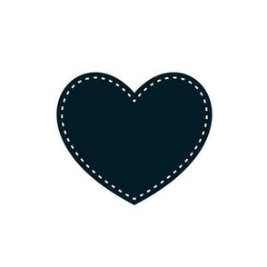 Hearts - navy on white