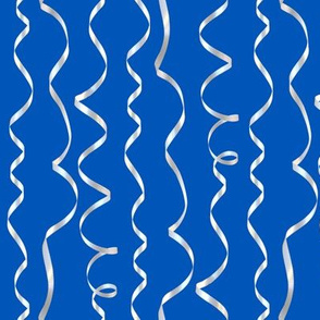 white curling ribbons on picnic blue