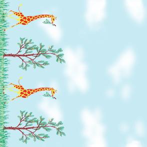 Daytime Giraffe Novelty Border Print