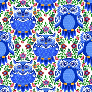 BLUE OWLS WITH FLOWERS OGEE