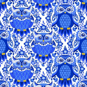DELFT BLUE OWLS AND FLOWERS