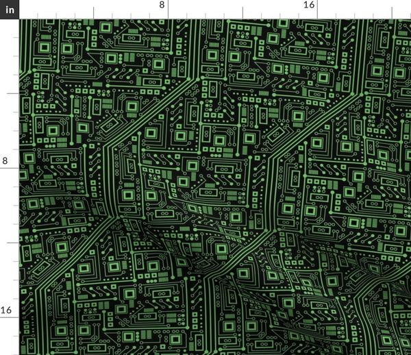 Fabric By The Yard Evil Robo Circuit Board Green