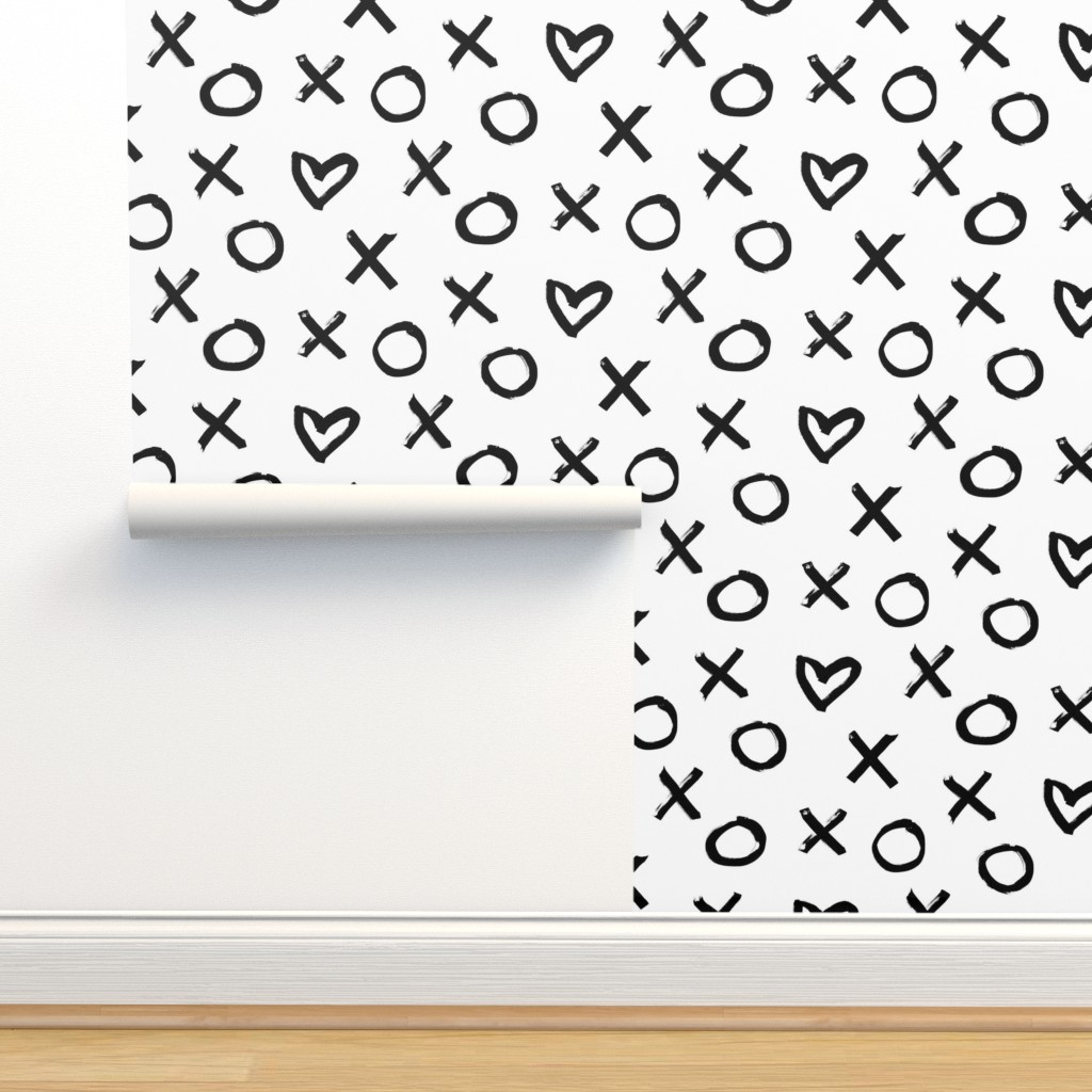 Isobar Durable Wallpaper featuring black white xoxo big allover by primuspattern