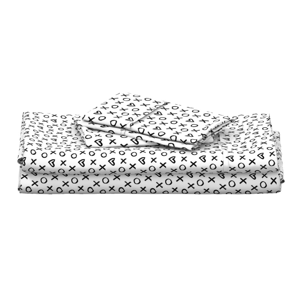 Langshan Full Bed Set featuring black white xoxo tiny allover by primuspattern