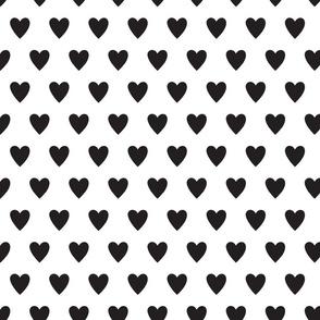 hearts-white & black