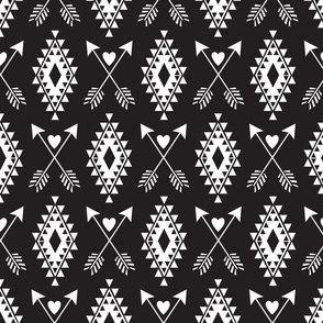 Tribal Aztec w/ Hearts & Arrows-Black & White