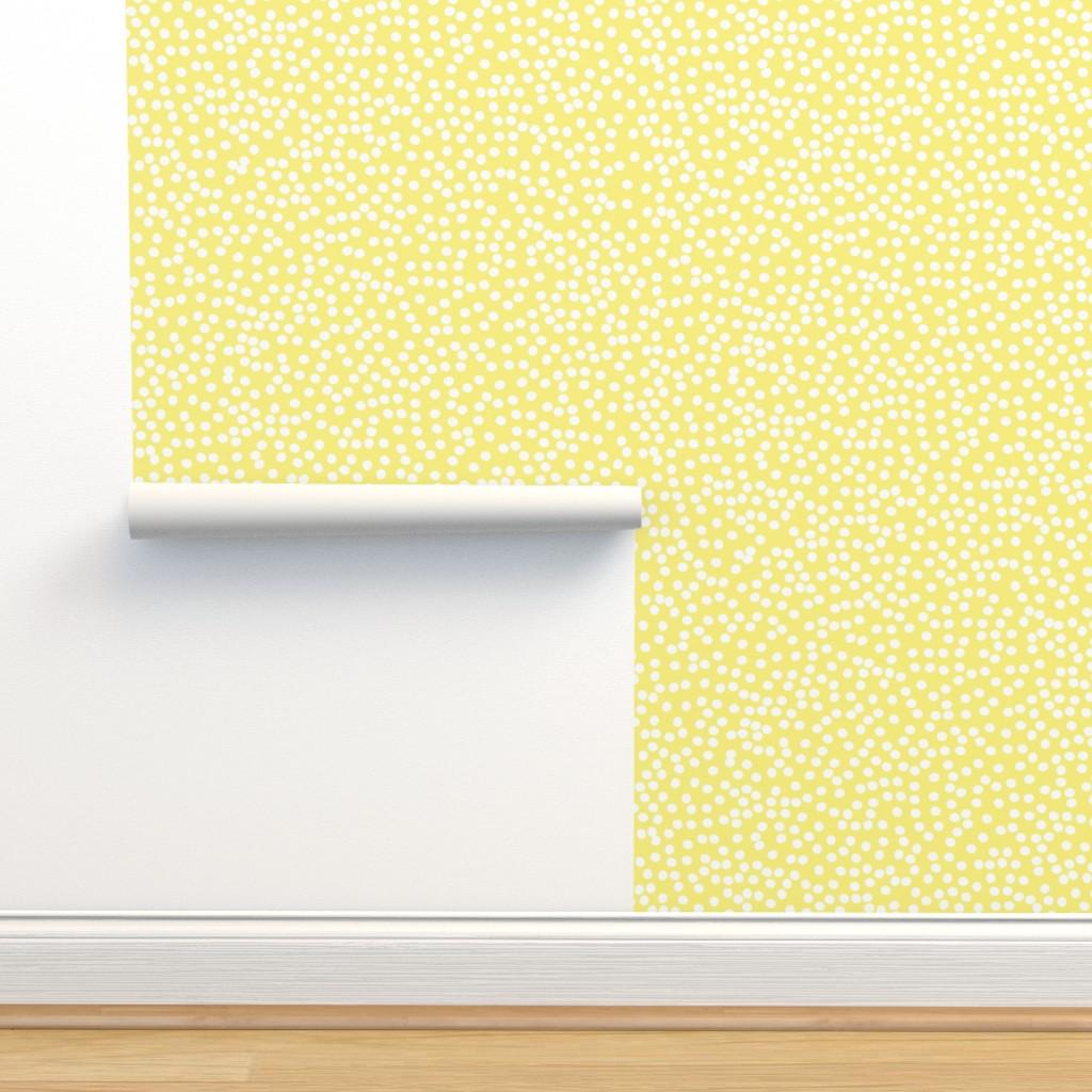 Isobar Durable Wallpaper featuring Yellow - Random Polkadot by papercanoefabricshop