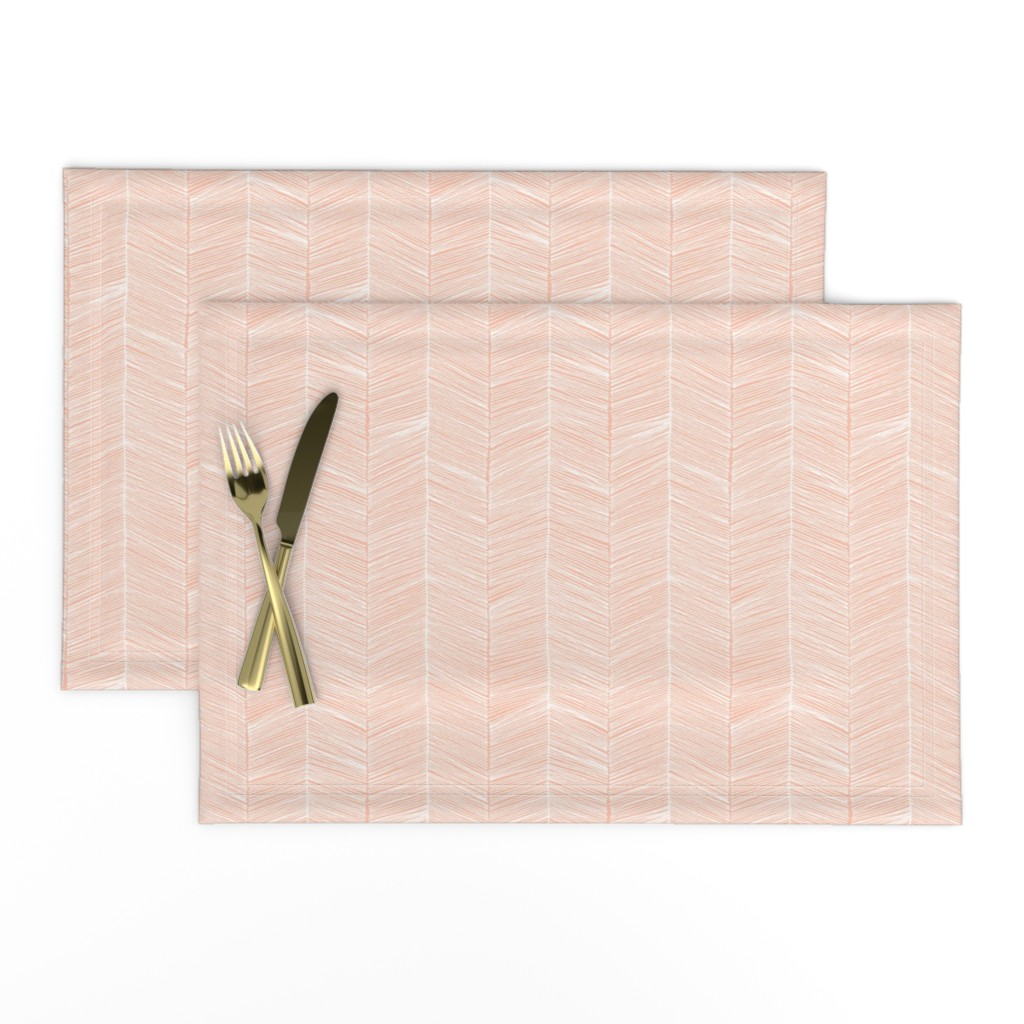 Lamona Cloth Placemats featuring Herringbone Peach - 3 in wide by papercanoefabricshop