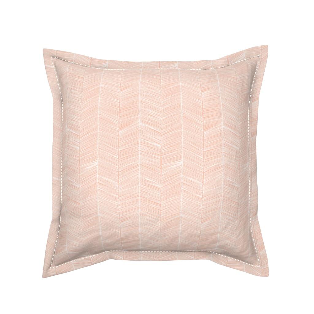 Serama Throw Pillow featuring Herringbone Peach - 3 in wide by papercanoefabricshop