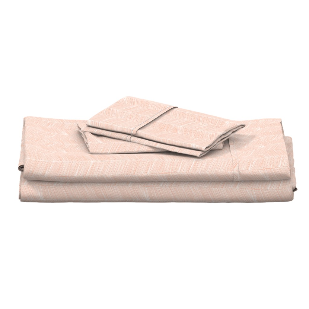 Langshan Full Bed Set featuring Herringbone Peach - 3 in wide by papercanoefabricshop