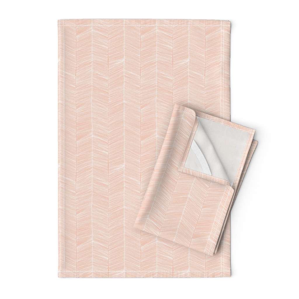 Orpington Tea Towels featuring Herringbone Peach - 3 in wide by papercanoefabricshop