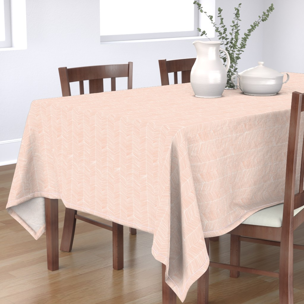 Bantam Rectangular Tablecloth featuring Herringbone Peach - 3 in wide by papercanoefabricshop