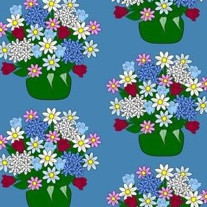 Flower Arrangement With Hydrangea, Roses, and Daisies Fabric 1