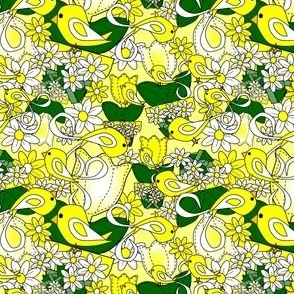 Tulips and Daisies Yellow and White Flowers Fabric