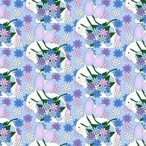 Bunny and Spring Flowers Fabric 3
