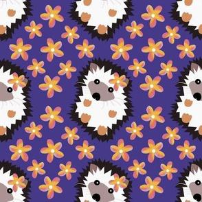 Hedgehogs and Plumeria on Vintage Violet