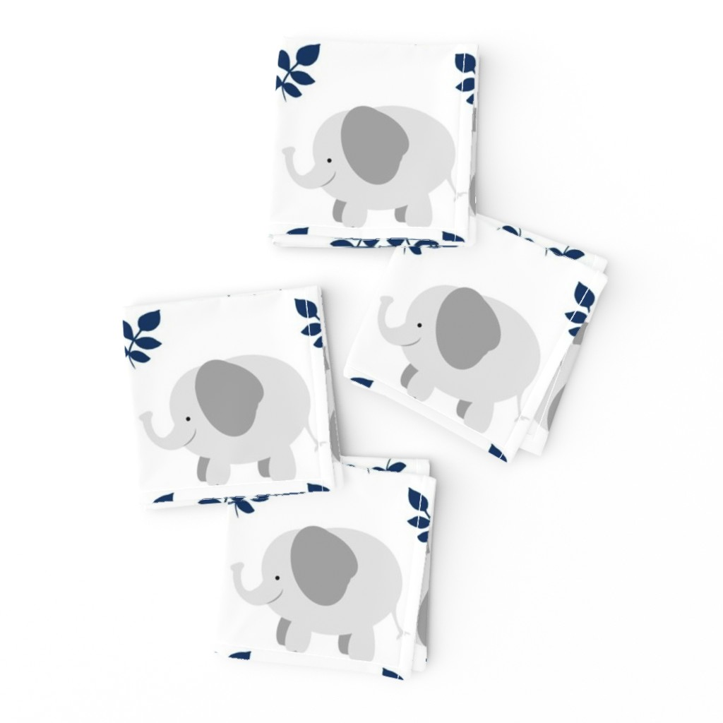 Frizzle Cocktail Napkins featuring Elephants in a Row-gray navy leaf by drapestudio
