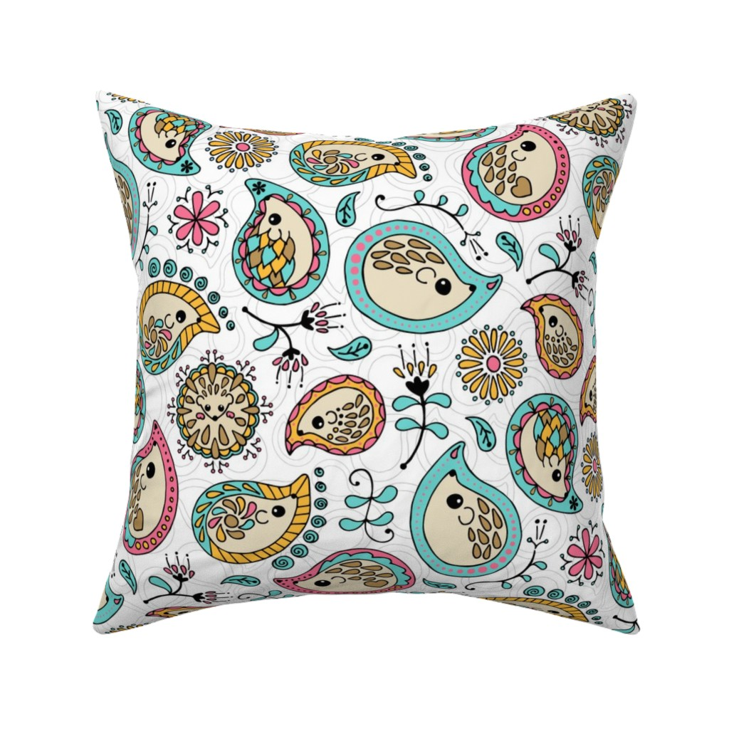 Catalan Throw Pillow featuring Hedgehog Paisley - Colors & White by mia_valdez