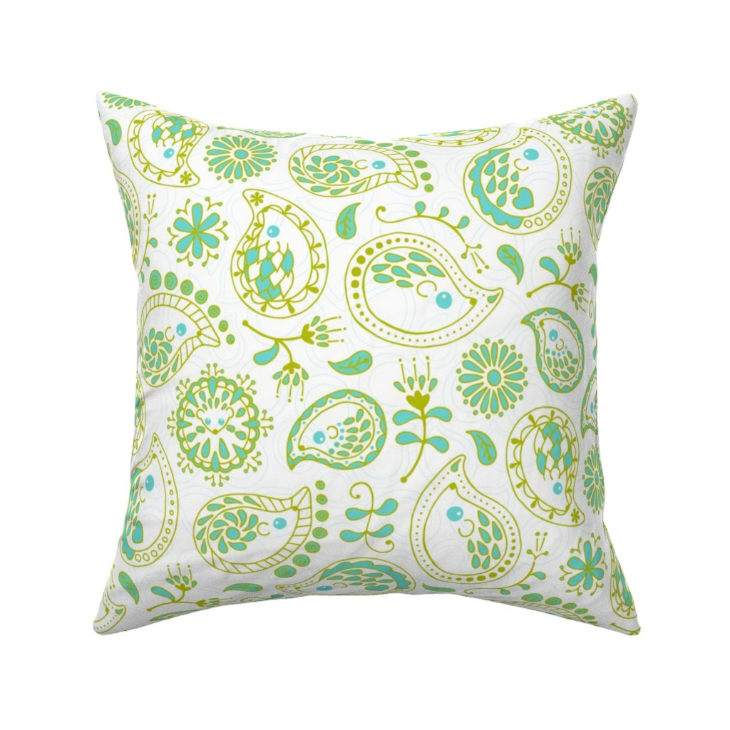 Catalan Throw Pillow featuring Hedgehog Paisley - Green & White by mia_valdez