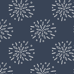 Starry Floral Drawing on Blue