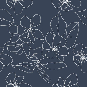 Delicate Flower Petals, Drawing on Blue