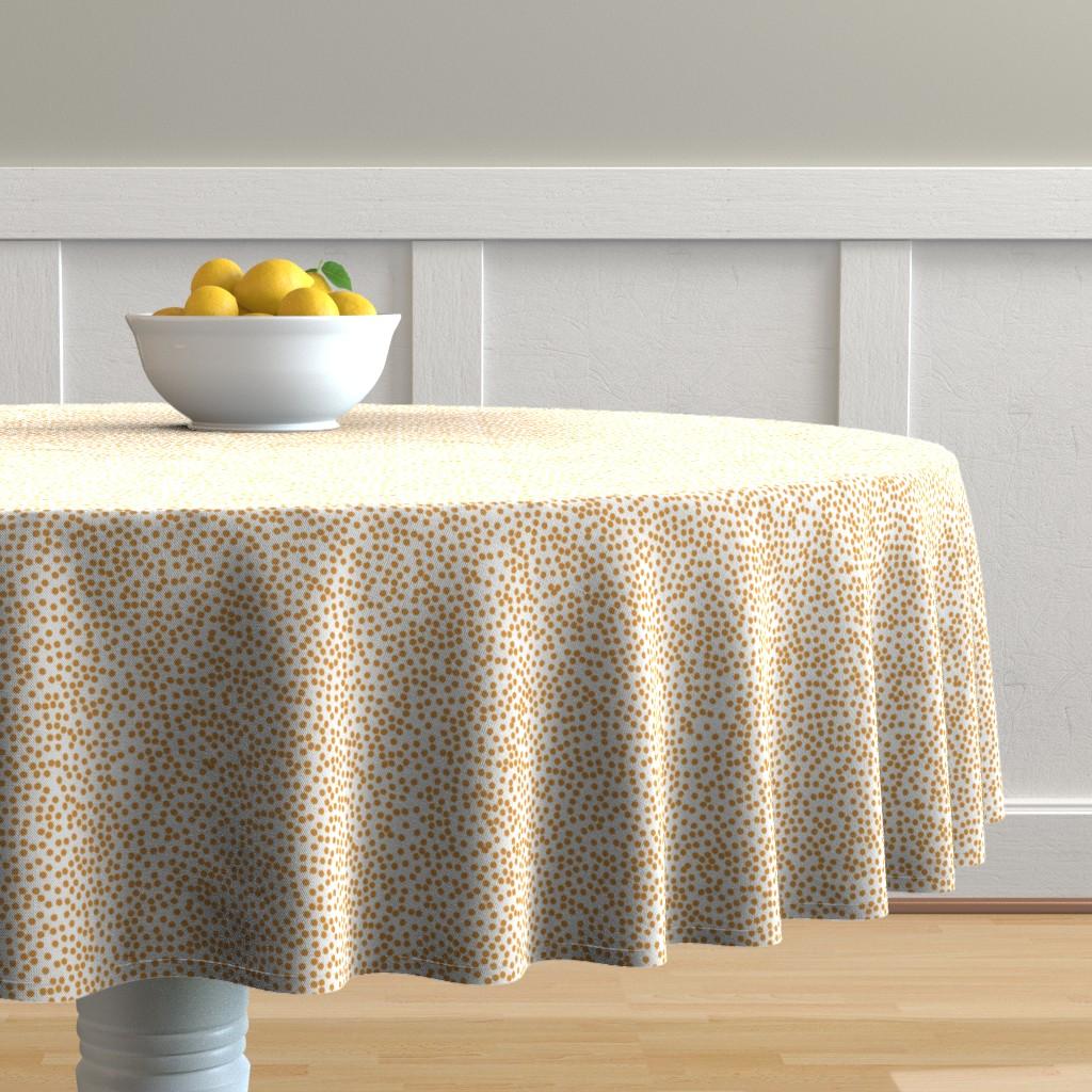 Malay Round Tablecloth featuring Random Polkadot - White and Burnt Orange by papercanoefabricshop