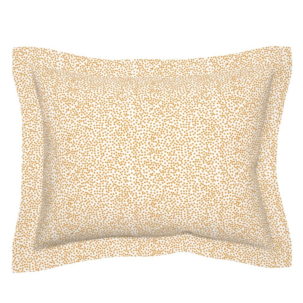 Sebright Pillow Sham featuring Random Polkadot - White and Burnt Orange by papercanoefabricshop