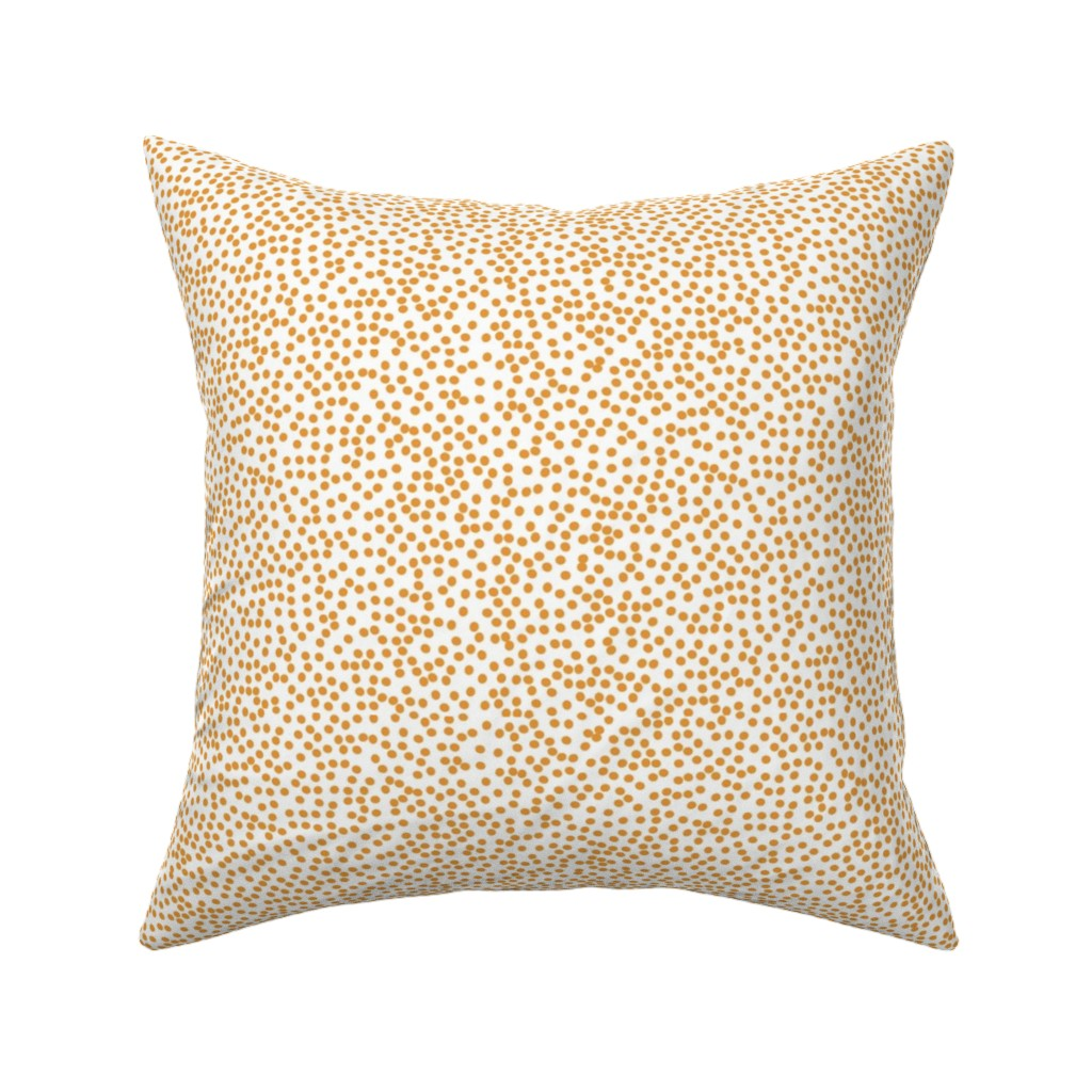 Catalan Throw Pillow featuring Random Polkadot - White and Burnt Orange by papercanoefabricshop