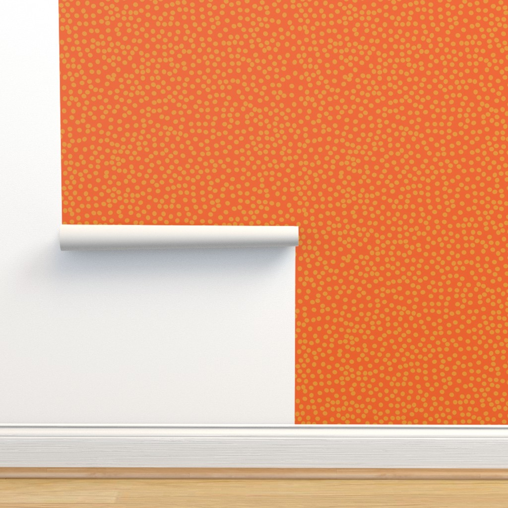 Isobar Durable Wallpaper featuring Random Polkadot - Pumpkin and Burnt Orange by papercanoefabricshop