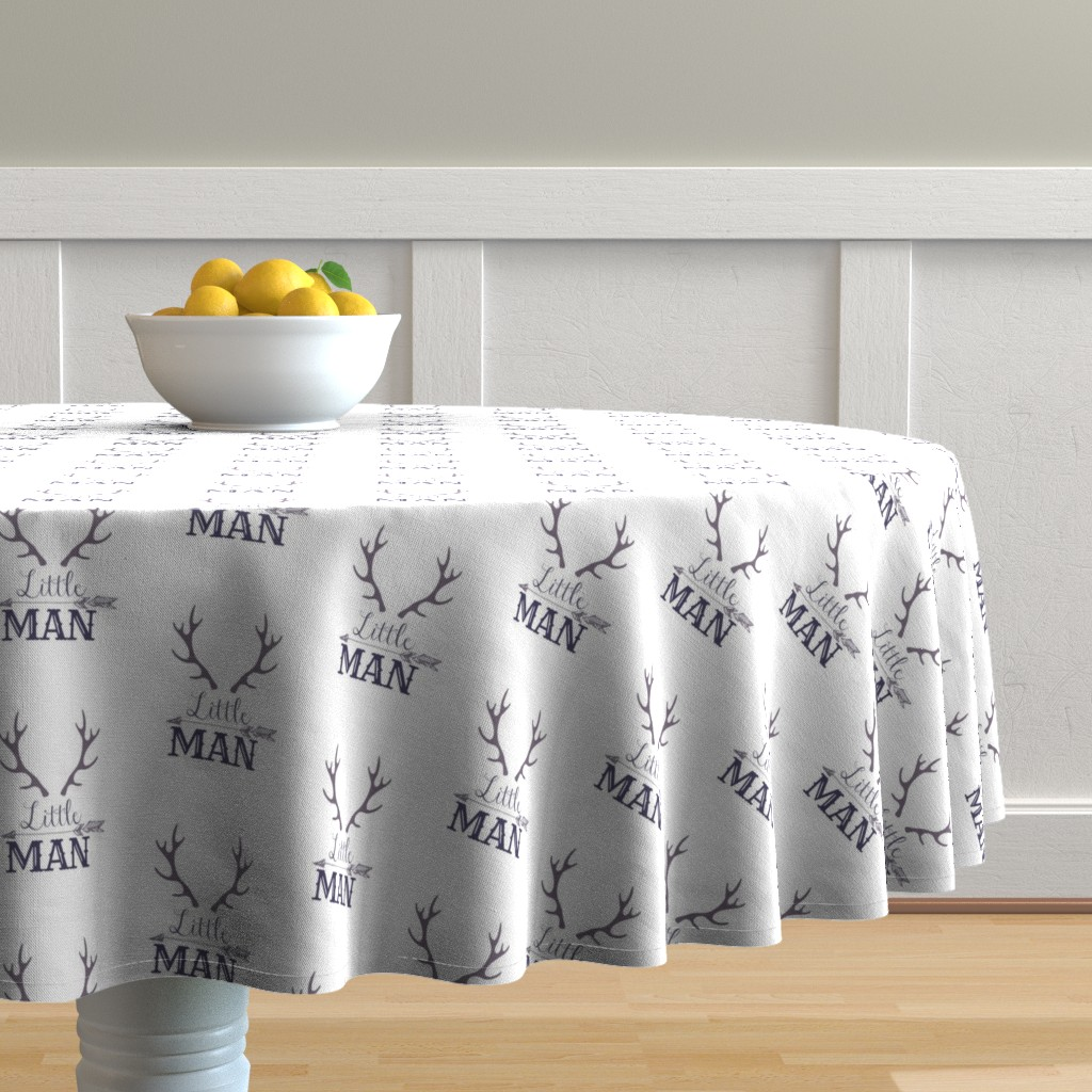 Malay Round Tablecloth featuring Blue Little Man with Horns and Arrows by hudsondesigncompany