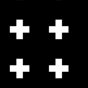 cross + white on black 4in narrow